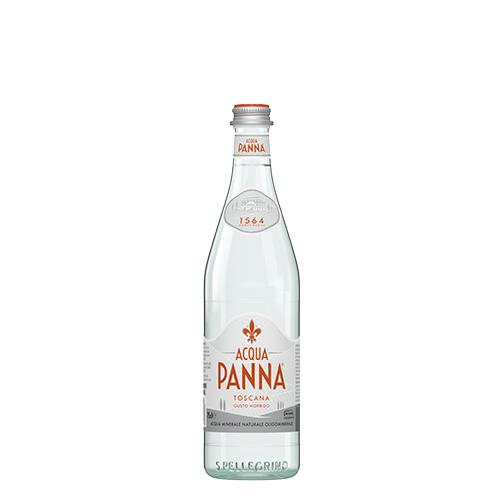 Acqua Panna Bottiglia di vetro 75 cl e Cibo su piatto Animazione