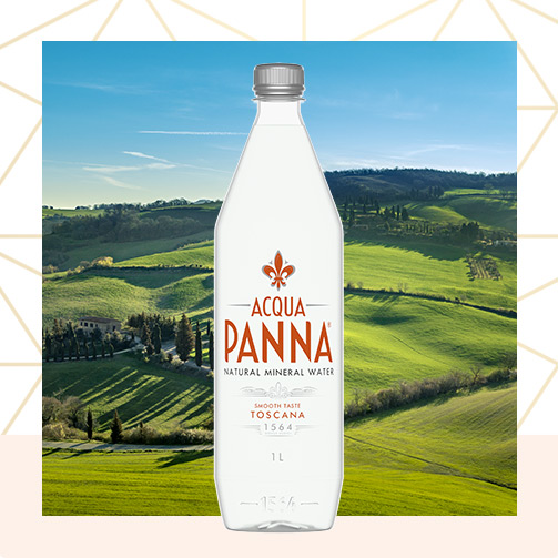 Acqua Panna 1L Plastic Bottle and Tuscany Landscape