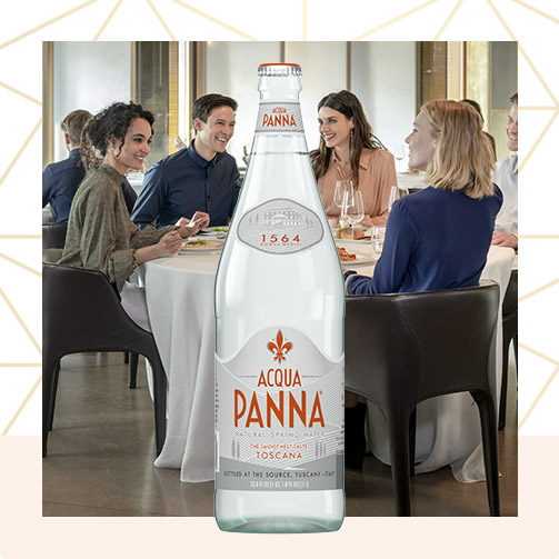 Acqua Panna 1 L Glass Bottle and Friends at Table