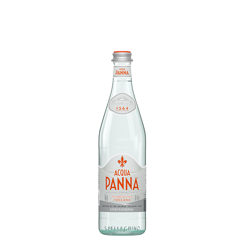 front of 750 ml acqua panna water bottle