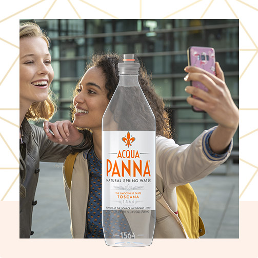 Acqua Panna 75 cl Plastic Bottle and Girl's Selfie