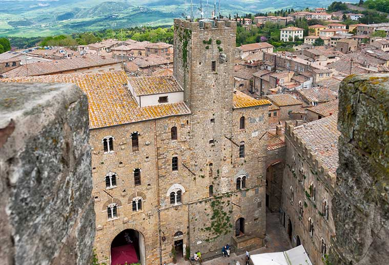 medieval buildings in tuscan city