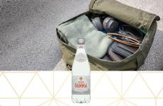 backpack packed for a day trip - acqua panna 500 ml plastic water bottle details