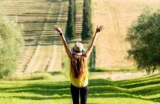 Girl Having Experience in Tuscany Countryside