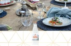 wood dining table setting - 250 ml acqua panna glass water bottle details
