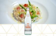 meal on plate - acqua panna 750 ml glass water bottle details